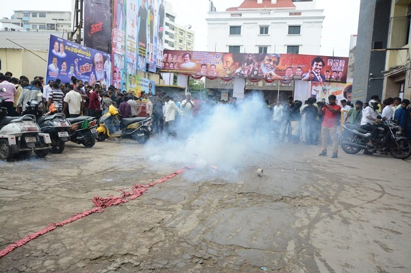 Fans in Chennai burst firecrackers to celebrate the release of Kaala