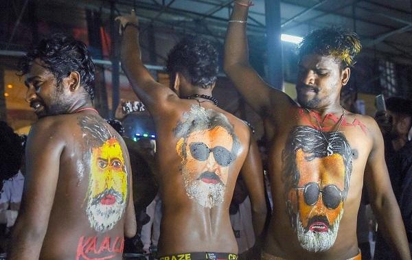 Fans in Mumbai celebrate the release of Kaala. Photo: PTI