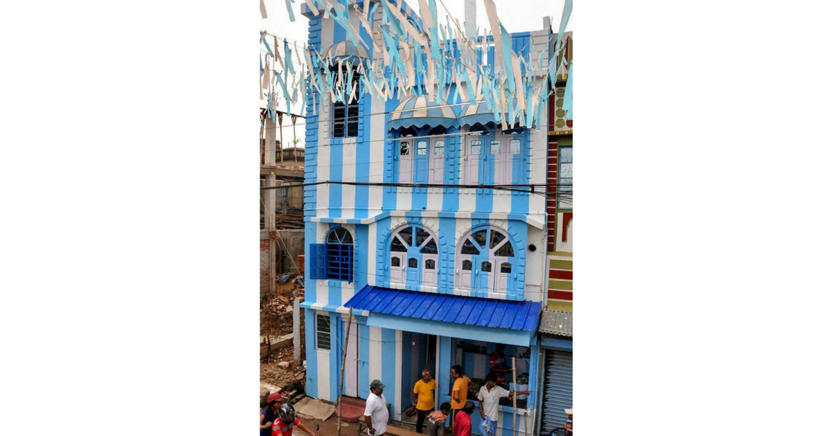 Patra's three-storeyed house has been painted in blue and white. (PTI)