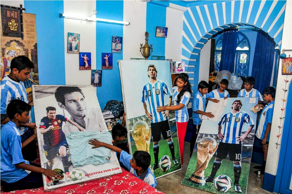 Argentina's blue and white colours and posters of Messi adorn the inside of Patra's house. (PTI)
