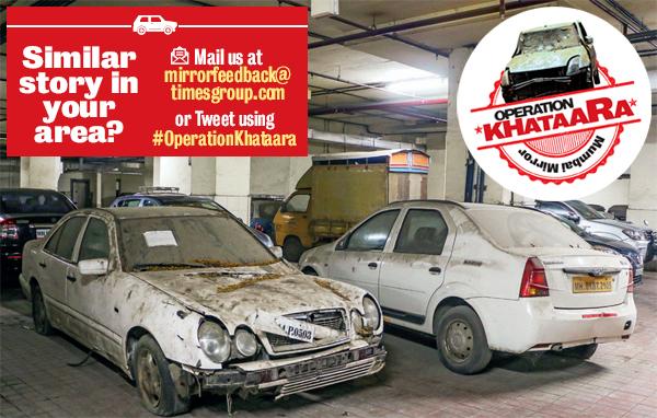 The dead cars dumped in Hi-Life mall in Santacruz West (PIC: GURUJEET SINGH DEVGUN)