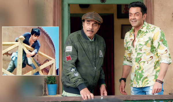 Dharmendra with Bobby Deol in a still from the film; the veteran actor in Sholay (inset)