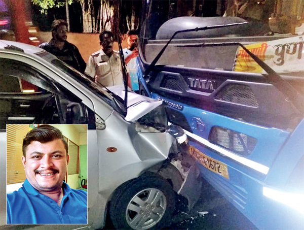 The head-on collision between a bus and Dhiren's (L) car took place after midnight on Saturday; when he reached home with his wife and sister around 4.30 am, they found him motionless. He was declared dead on arrival at hospital