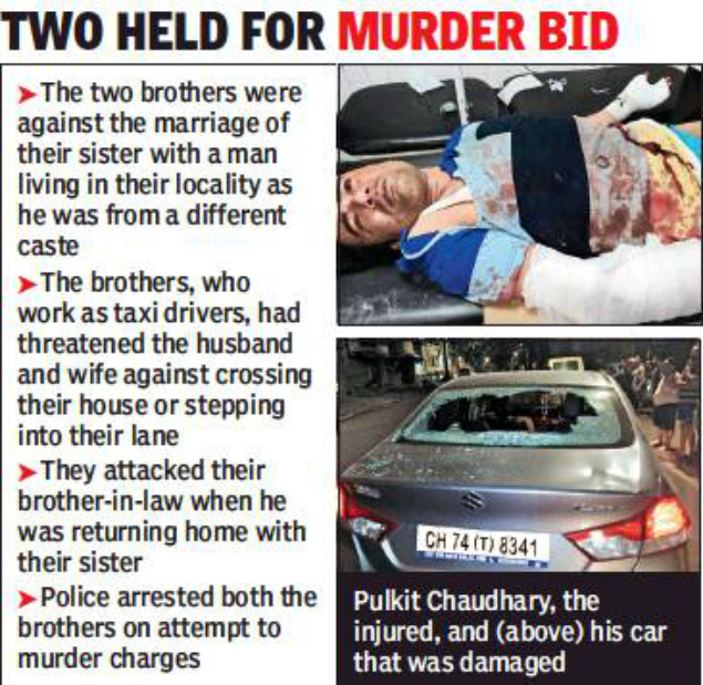 Brothers Spill Blood Over Love Marriage Chandigarh News Times Of