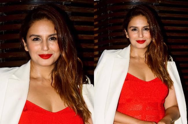 huma qureshi sexy red dress