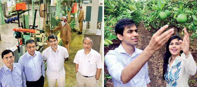 (L) Bhavarlal Jain's sons (from L to R) Anil, Ashok, Atul and Ajit, manage different parts of the hugely-diversified business. (R) Siblings Athang and Amoli at an orange orchard. Amoli, along with cousin Abhaidya, has recently joined the company