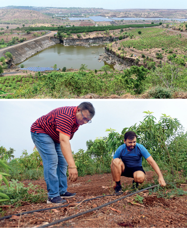 (Top) The 1,300-acre Jain Irrigation campus in Jalgaon is the company's headquarters and also houses its various businesses, laboratories and plants, like food processing and spices; (above) Farmers Swapnil and Nikhil Chaudhary use JISL's new technology to water and fertilise their fruit orchards remotely, using a handheld device