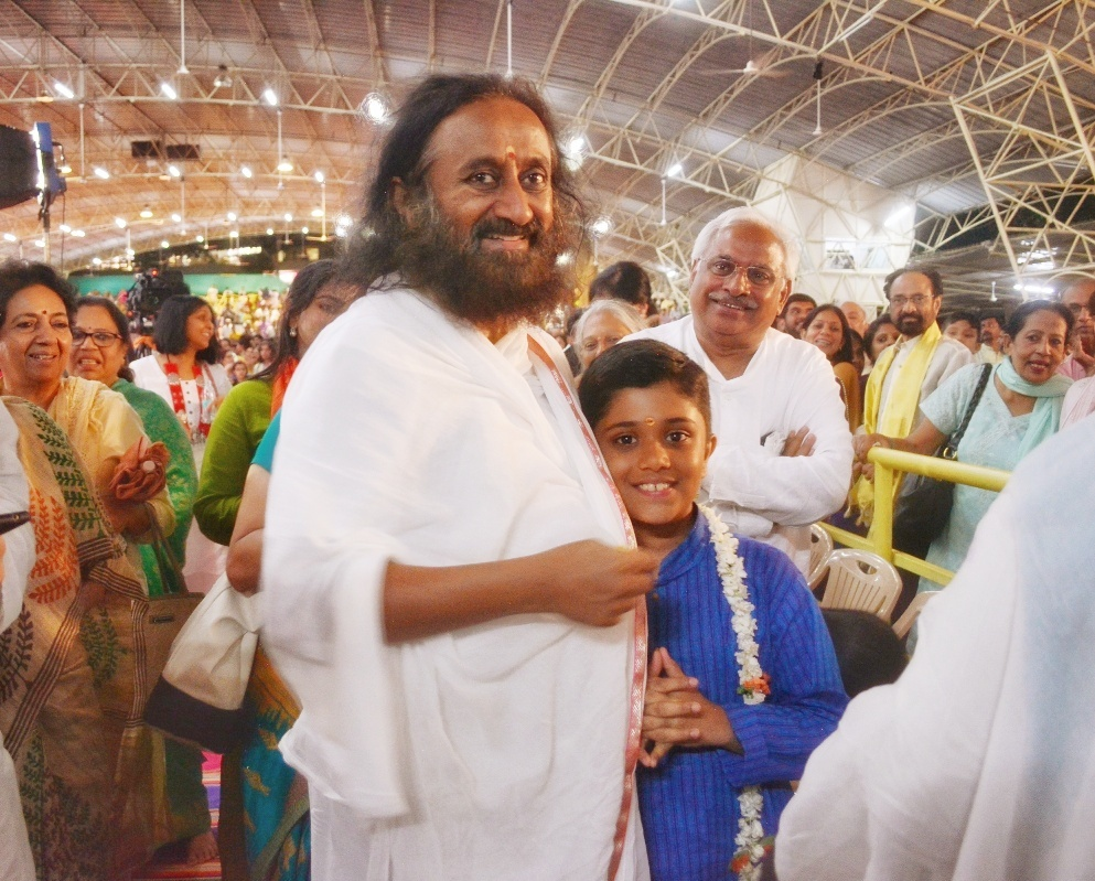 Rahul with Sri Sri Ravishankar.