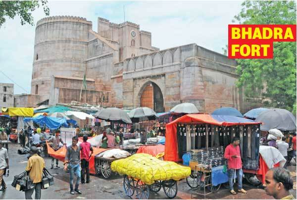 BHADRA FORT: The walls and gates of this 600-year-old heritage structure are obscured by large hoardings, shops and commercial vehicles. Only the fort tower remains visible from the road. Ironically, Bhadra Plaza was supposed to be India's first pedestrianising project — a concept muted by the then state government with the aim of bagging UNESCO World Heritage City status for Ahmedabad.