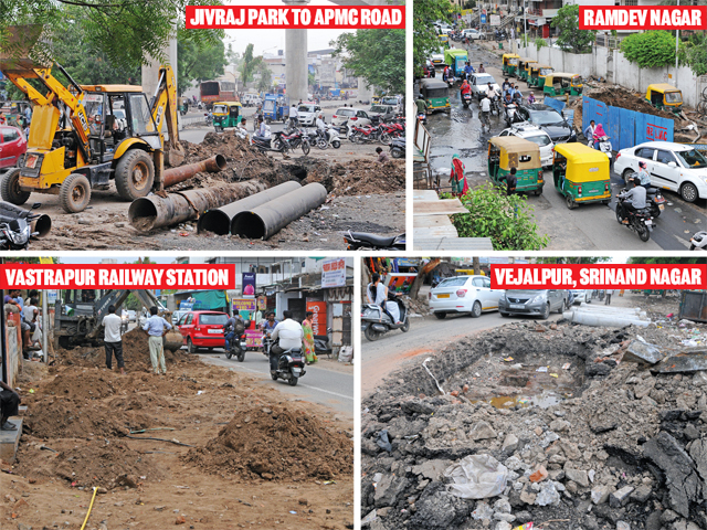 Digging work that should have stopped before monsoon continues on Jivraj Park-APMC road; Ramdevnagar residents have been passing through this hellhole; Vejalpur, Srinand Nagar: Imagine the danger this route poses when filled in the rains; Vastrapur Railway Station: Residents face traffic jams daily passing through the narrow patch