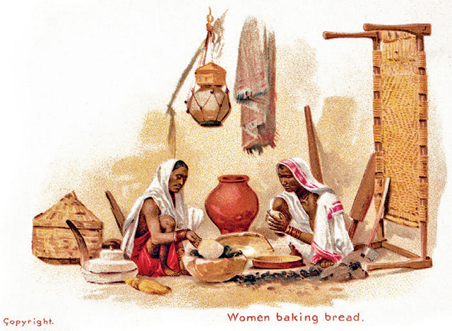The first postcard in Omar Khan's collection - Women baking bread