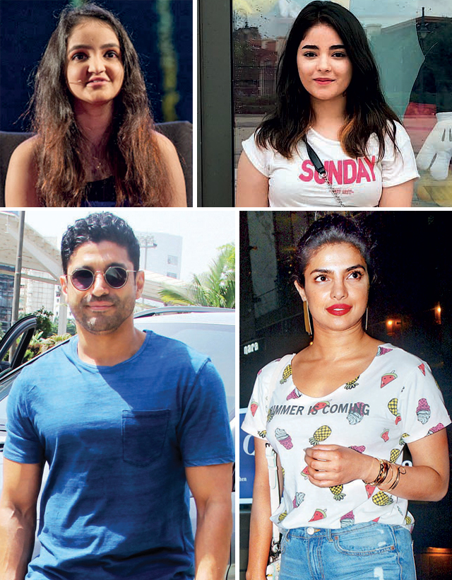 Farhan Akhtar and Priyanka Chopra play parents to Zaira Wasim (top, right), whose protagonist is based on Aisha Chaudhary (top left)