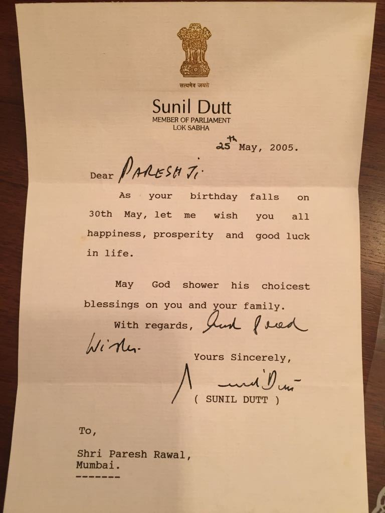 Late actor-politician wrote a letter to Paresh Rawal