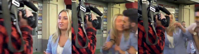 Screen grabs of a man kissing Russian television reporter Yulia Shatilova