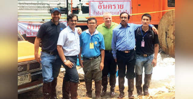 Prashant Kulkarni (second from left) and Shyam Shukla (second from right) with the rest of the Kirloskar team at the Thai site
