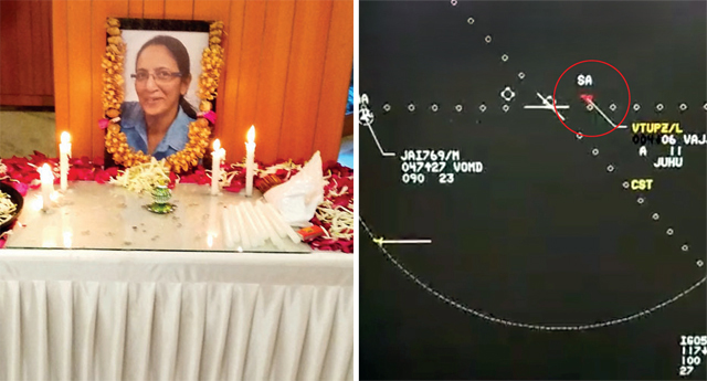 A prayer meet was held for Capt Marya Zuberi in Juhu on Tuesday; (right) A grab from the radar video showing the crash of C-90 aircraft indicates the plane had descended to 400 ft range when it turned right to land at Juhu airport to complete the test flight