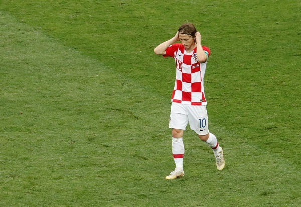 Luka Modric of Croatia looks dejected after the match. Photo: Reuters