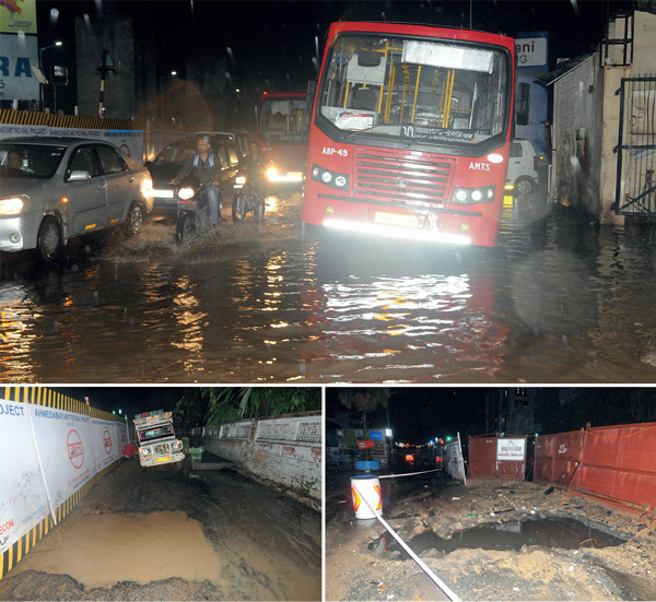 Chaos at Helmet Crossroads as AMTS bus got stuck in a pothole at depot's entrance(Top); There are 2 potholes on road from Havmor to Stadium(Left); There are more than 20 large potholes along stretch from Navrangpura to Himalaya Mall (Right)