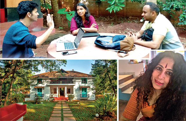 Top: Participants of Dum Pukht Fiction Workshop are mentored by expert authors and receive feedback from their peers; (L) A 200-year-old Portuguese villa in Goa will play host to the upcoming Bound Writer's Retreat; (R) Well-known writer Anita Nair launched Anita's Attic in Bengaluru in 2015