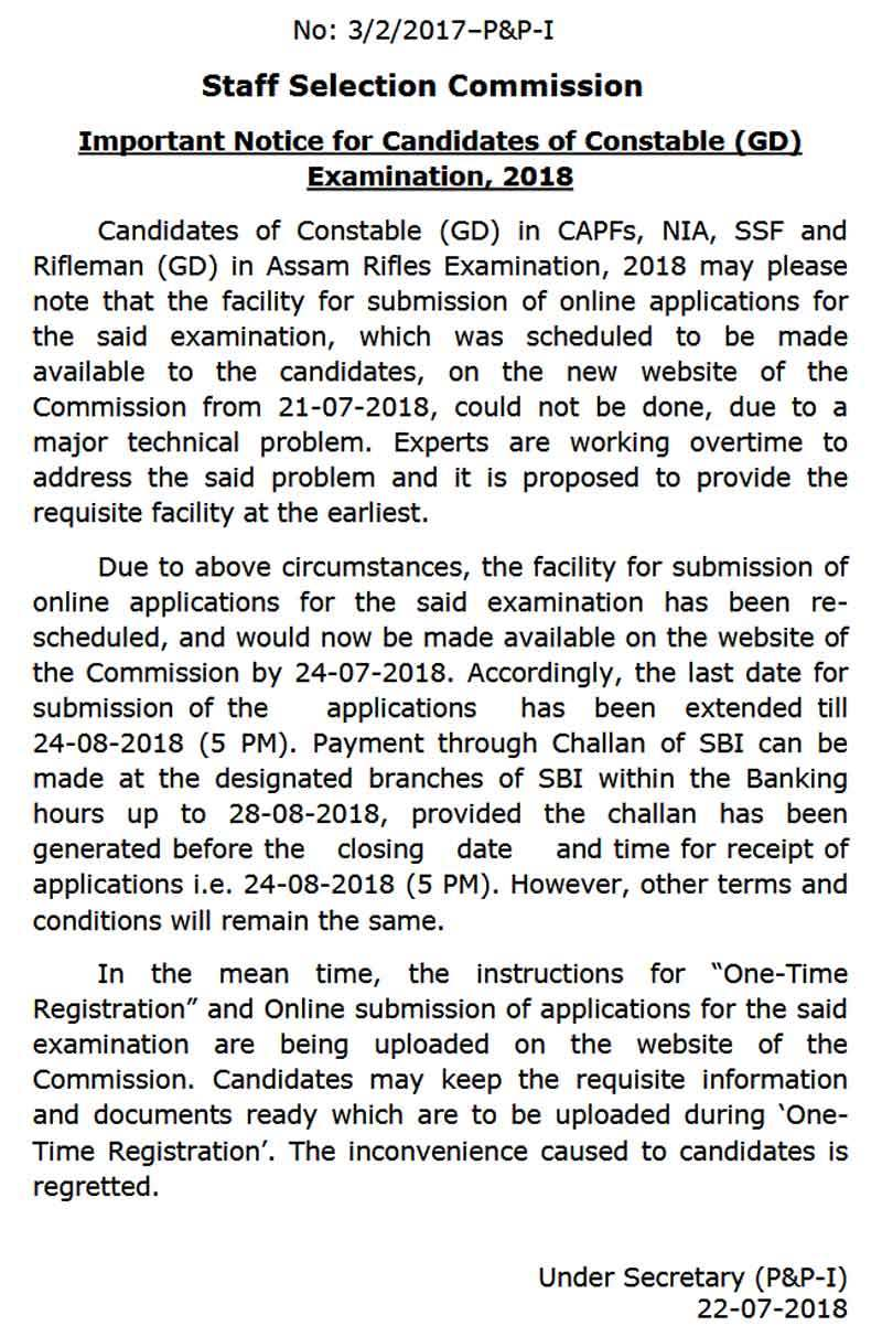 SSC GD Constable 2018: SSC Constable (GD) application