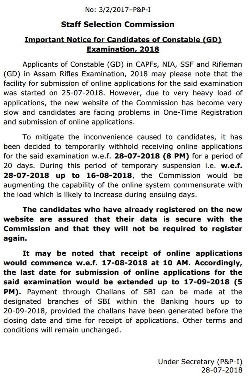 SSC GD Constable recruitment 2018: Online registration process