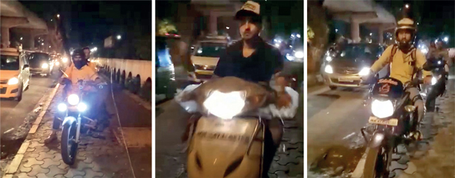 As the pedestrian filmed them driving on the pavement along Link Road, Malad, some bikers dared her to report them