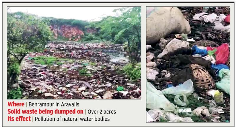 Garbage dumped near Aravali water holes, MCG served notice