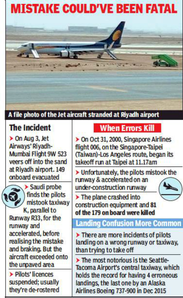 jet airways mishap: Jet mishap in Saudi: Pilots mistook taxiway for ...