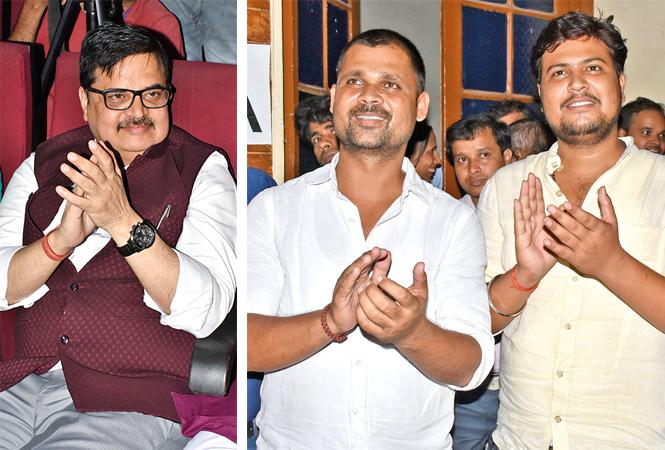 (L) Vinod Kumar Sahi (R) Ravi Pratap Singh and Mohit Singh (BCCL/ Vishnu Jaiswal)