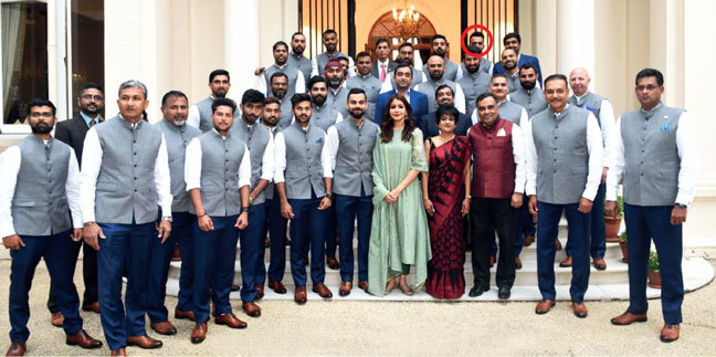The Indian team at a reception hosted by the Indian High Commissioner in London