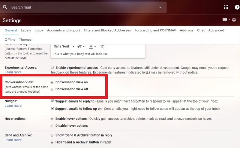 How to enable/disable Gmail conversation threads on desktop