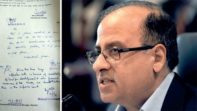 (Left) Civic chief Ajoy Mehta's note on the decision to move the SC, which was allegedly tampered with