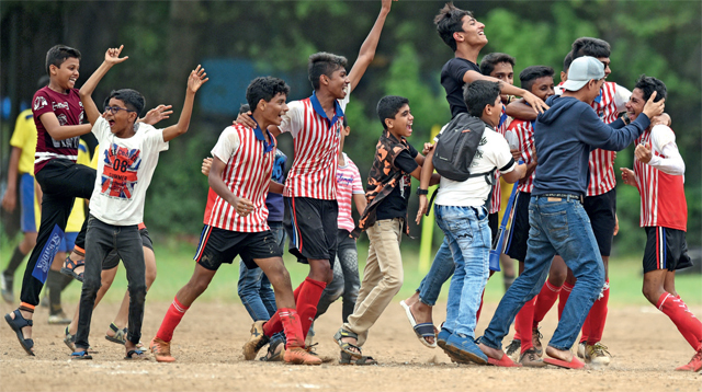 St Mary winger Mohammad Khatib (extreme right) is mobbed after the Mazgaon school won the MSSA Div-I final yesterday at Azad Maidan.