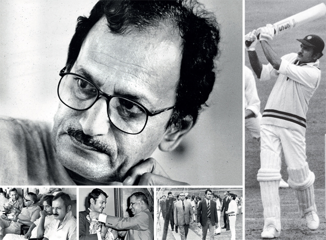 The face (clockwise) that's synoymous with Indian cricket • Playing with flourish during the 1971Oval Test • With well-known administrator Keki Tarapore • Central Bank of India's BN Adarkar (right) pays floral tribute to Wadekar for having led India to their first ever win over West Indies • Watching the Bombay Division Cricket finals between State Bank & Hitendra Desai and Rajesh Khanna Johnson at the Parsi Gymkhana in 1982