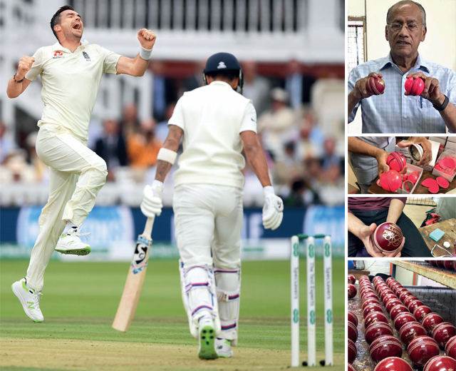 Left: James Anderson loves bowling with the Dukes ball — he says it fits perfectly in his hand; (right from top) Dilip Jajodia, the owner of British Cricket Balls that makes Dukes; All the threads on the ball are stitched by hand; The grease on a Dukes ball gives it a darker colour; New Dukes balls after getting polished