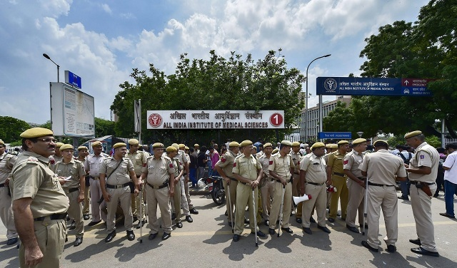 Heavy security cover outside AIIMS (PTI)