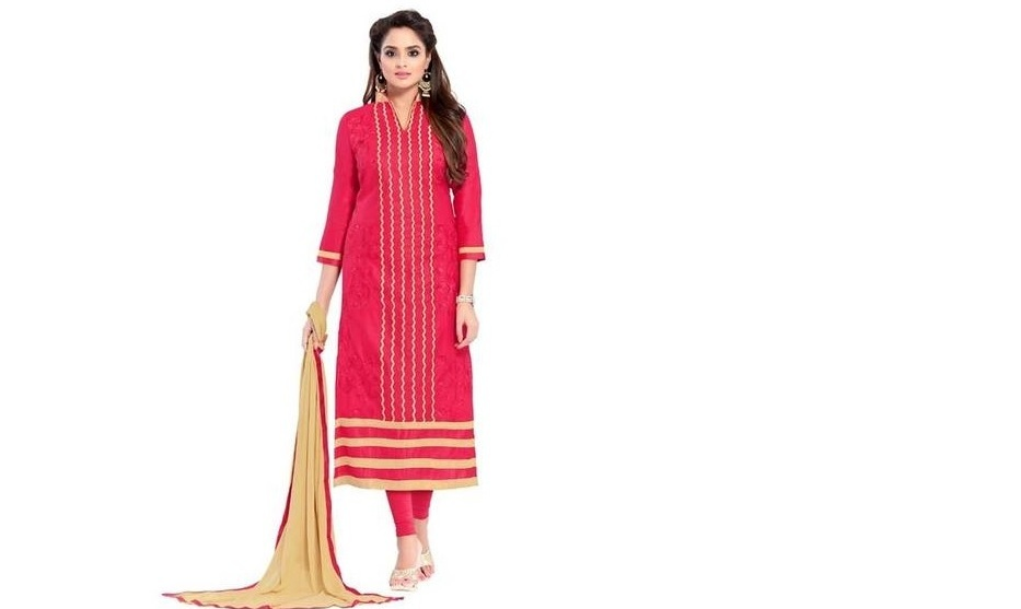 Maroosh Semi-Stitched Embroidered Salwar Suit With Dupatta