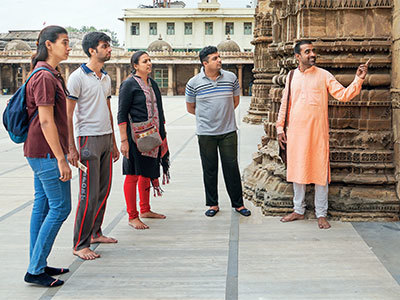 The Panchals' walk begins at the Kalupur Swaminarayan Temple in old city