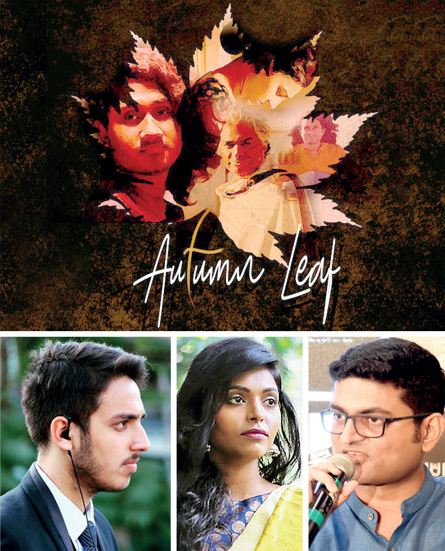 (Clockwise from top) A poster of the short, Autumn Leaf, film makers Chintan Sarda, Divya Unni and Kshitij Kumar Pandey