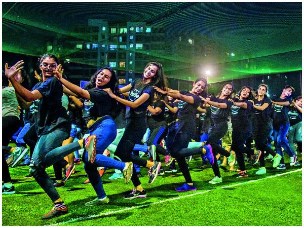 Dancing to a medley of popular Hindi songs