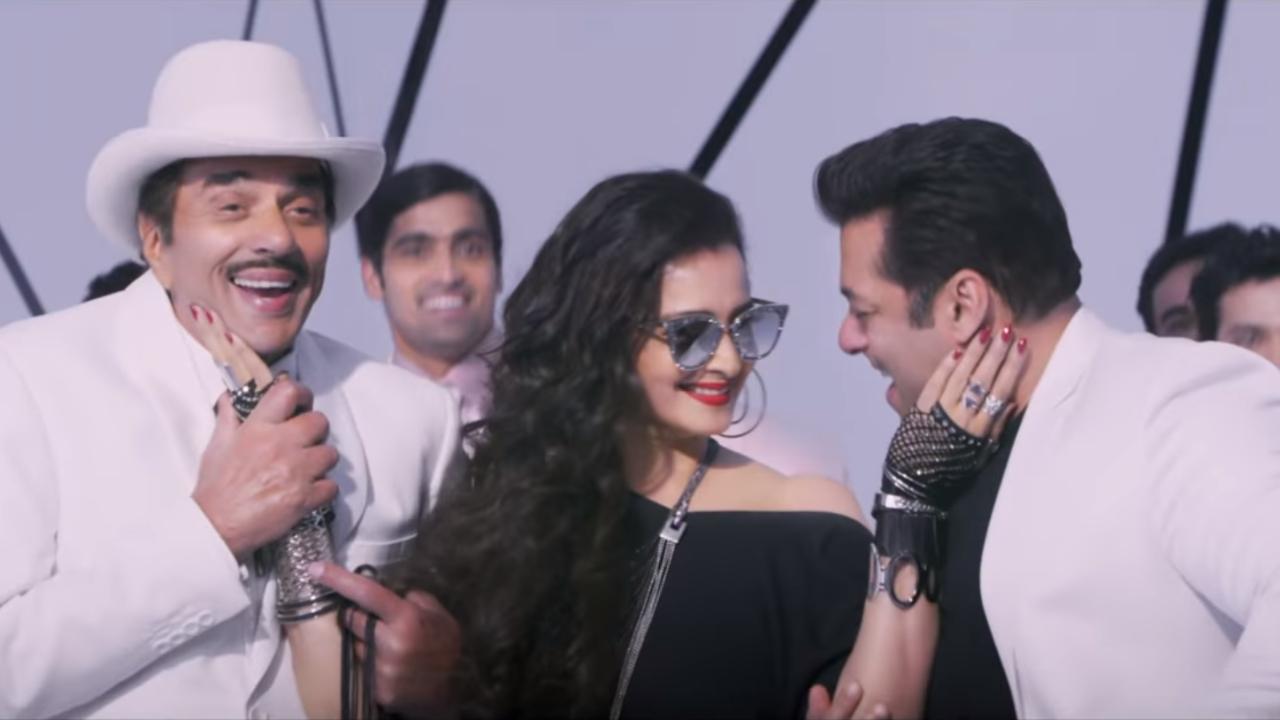 Rekha with Dharmendra and Salman