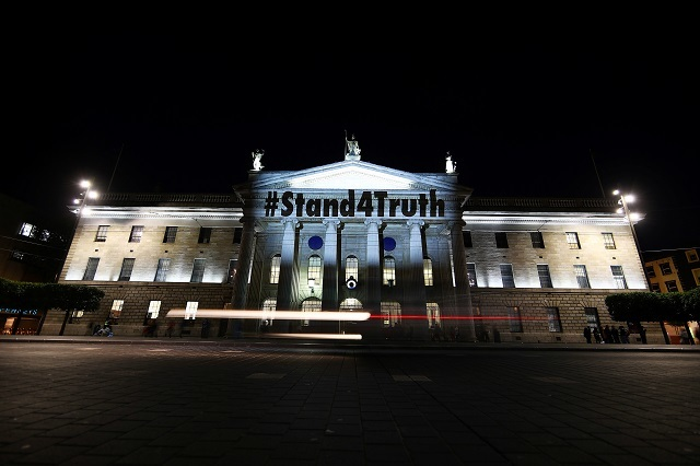 Projections in supporrt of victims of clerical abuse are seen on the General Post Office in Dublin. Reuters Photos