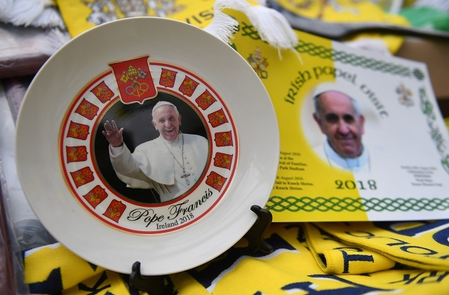 Pope Francis themed souvenirs are seen for sale in Dublin. Reuters Photos