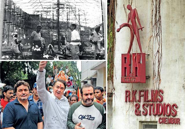 Top: The set being built for the film Awara at R.K. Studio. Rishi Kapoor had tweeted the picture after the fire last year. Above: Rishi, Randhir and Rajiv Kapoor