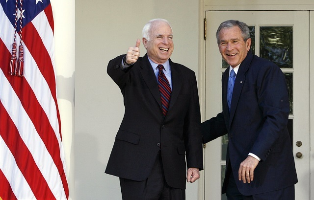 Then US President George W. Bush and then presumptive Republican presidential nominee Sen. John McCain walk toward the Oval Office of the White House in Washington on March 5, 2008. Reuters Photos