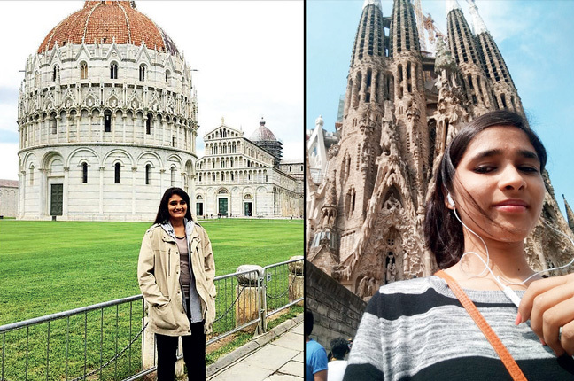 Shrreya Malu exulted in the beauty and careful preservation of history in Italy;(Right) Ritika Gupta from DY Patil College of Architecture in Barcelona, Spain
