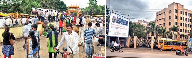The Lexicon International School (above right) is on Nagar Road, close to Wageshwar Temple (above left) that sees an especially large number of devotees on Mondays during Shravan, sparking traffic chaos (Top left)