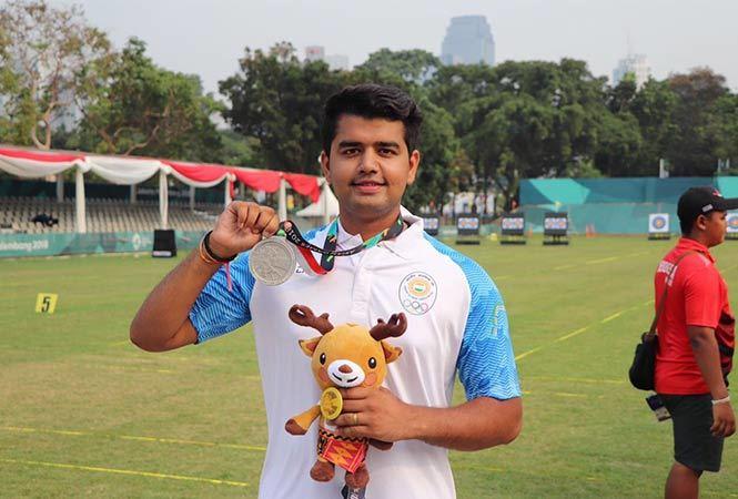 Aman Saini won silver in men's team compound archery