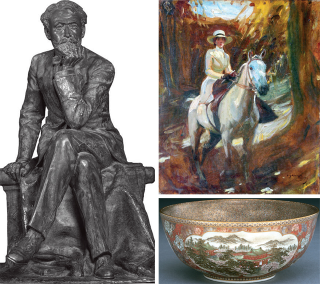 (Clockwise from left) A bronze statue of Sir Ratan Tata (1871-1918); 'Lady on a Horseback', an oil on canvas painting by Sir Alfred James Munnings (1878-1959); A Satsuma bowl from the Meiji period (1868-1912) from Japan