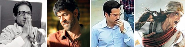 L to R: Nawaz aided by prosthetics for Thackeray; Hrithik's Anand Kumar in Super 30; Emraan shoots for Cheat India; Kangana in and as Manikarnika